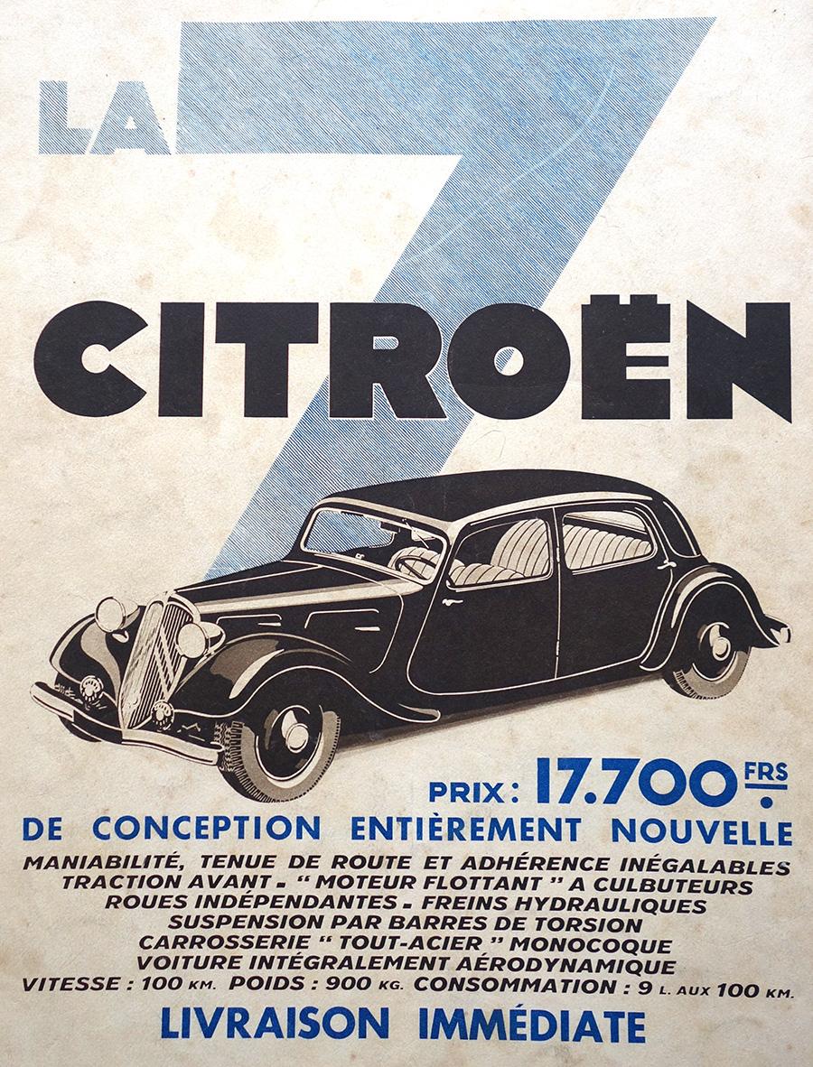 Publicité pour la Citroën Traction dans les années 30