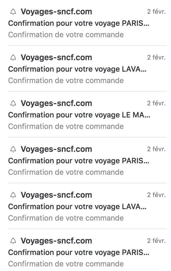 Liste des mails envoyés par le site voyages-sncf.com pour la confirmation d'une réservation TGV Max